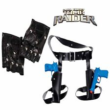 LARA CROFT Tomb Raider Fancy Dress Accessories- GLOVES and TWIN GUN HOLSTER SET
