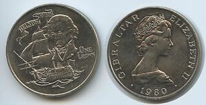 GS990 - Gibraltar One Crown 1980 KM#12 Death of Nelson 175th Anniversary