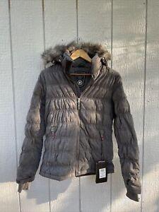 NWT Killtec Womens Lucia down jacket Parka Hooded Fur Gray Size 8 Snow Winter
