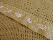 """VINTAGE Satin edge BLANKET Trim 89"""" x 69"""" GOLD / YELLOW FLORAL Made in the USA!!"""