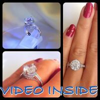 4.08 Carat Diamond Solitaire Engagement Ring Solid In Sterling Silver