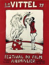 """""""FESTIVAL DU FILM ANIMALIER VITTEL 79"""" Sérigraphie entoilée R.SABATIER 54x69cm"""
