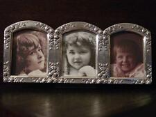 Silver Pewter ROSE ADORNED 3-Panel Picture Frame