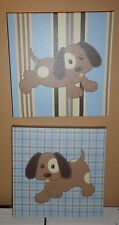 2 Canvas Framed Dog/Puppy Artwork in Blues & Browns Childs Room Pet Lover 10X10