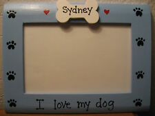Dog Frame PERSONALIZED - I LOVE MY DOG - blue pet photo picture frame
