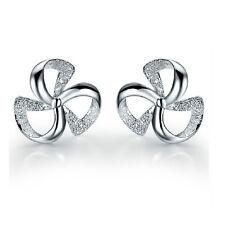 Elegant Shiny Windmill Silver with White Zircon Stud Earrings Studs E901