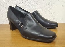 Women's Liz Baker Black Leather Slip-on Heel Pump 024-1705 - Size 9M