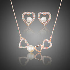 Rose Gold Plated Austria Crystals Stones Pearl Heart Stud Earrings Jewellery Set