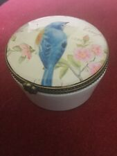 Very Pretty Glass Top Ceramic Trinket Box Decorated With Bluebird & Pink Blossom