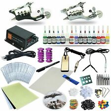 Complete Tattoo Kit 2 Rotary Machine Guns Set Power Supply 15 Color Inks TKT101