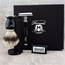 Classic 5 Piece Shaving Set  DE Safety & SilverTip Badger Brush   Men's Gift Kit