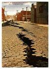 1906 SAN FRANCISCO EARTHQUAKE DEVASTATION BRICK STREET CRACK~NEW 1983 POSTCARD