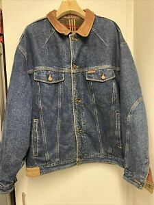 Marlboro Classics Mens  Denim Jacket Jeans With Leather Collar Trucker X LARGE