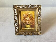 VINTAGE DOLLHOSE MINIATURE OIL ON CANVAS PAINTING IN GOLD ORNATE FRAME SIGNED