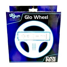 Steering Wheel For Nintendo Wii Led Blue Light Up Glo Console Remote Rare new