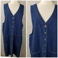 Vintage Plus Size 2X 18/20 Denim Shirt Dress Blue Jean jumper Overall Pockets