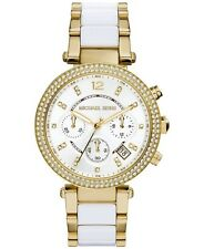 New Michael Kors Parker Gold White Chronograph Women's Glitz Watch MK6119