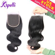 Kapelli 10A 4*4 Closure Body Wave Brazilian Virgin Human Hair Black Extensions