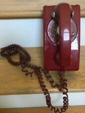 Vintage Bell Systems Western Electric Red Rotary Dial Mid Century Wall Telephone