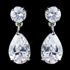 Antique Rhodium Silver Clear CZ Tear Drop Earrings #2581