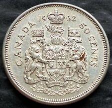 1962 Canada Silver 50 Cent Half Dollar Coin - 80% Silver