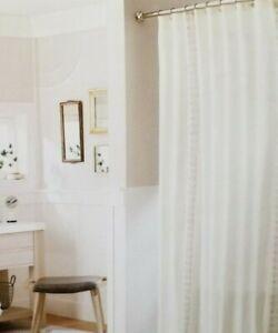 "Threshold Tan Embroidered Stripe Fabric Shower Curtain 72"" x 72"" NIP"