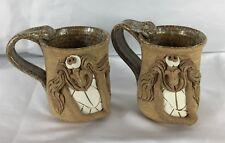 Stoneware Mustache Man Silly Coffee Mug Cup Set Big Teeth