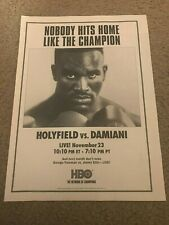 Vintage 1991 EVANDER HOLYFIELD vs FRANCESCO DAMIANI Poster Print Ad BOXING RARE