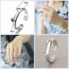 925 Sterling Silver Lovely Cat Ear Claw Open Ring Silver Plated Finger Jewelry