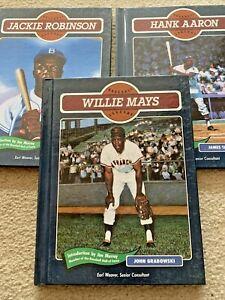 Lot Of 3 Baseball Legends Books 1991 Jackie Robinson, Willie Mays, Hank Aaron