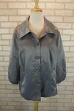 NEW Chico's Womens Blazer Size 2 Large 12 Suit Jacket Metallic Shiny Silver Top