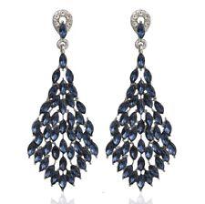 Marquise Drop Crystal Rhinestone Chandelier Dangle Earrings Studs H38b Navy Blue