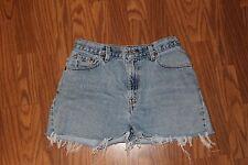 vtg LEVI'S jean shorts faded Denim cutoffs FRAYED hem size 10 grunge HIGH waist