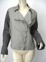EILEEN FISHER Charcoal/Gray Waxed Organic Linen Asymmetric Zip Moto Jacket sz M