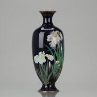 Lovely 19c Antique Meiji Period Japanese Bronze Cloisonne Vase Flowers