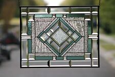 """Beveled Stained Glass Window Panel, Ready to Hang  ≈ 22 ½"""" x 17½"""""""