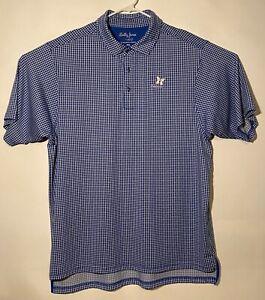 Kapalua Golf Shirt - Bobby Jones XH2O Performance Blue/White Squares (Mens XXL)