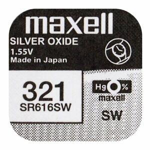 1x Maxell 321 Uhren-Batterie Knopfzelle SR616SW 616 SR616  Batterie