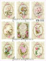 ~ Shabby Chic Vintage French Pink Roses 9 PRINTS on FABRIC Quilting FB 222 ~