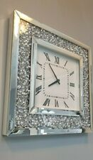 Mirrored Crushed Crystal Diamond Diamante Square Wall Clock