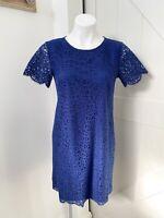 Ann Taylor Women's Blue Lace Short Sleeve Women's Career Sheath Dress Size 4