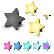 3 Pcs Flat 4mm Star Titanium IP Surgical Steel Micro Dermal Anchor Top 14g