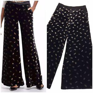 Anthropologie Elevenses Women's Wide Leg Velvet Pants Black Gold Fleck Size 10