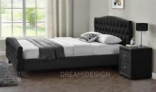 Velvet Linen Chesterfield Fabric Bed Frame Double King Size Bedroom 5ft Kingsize Linen Black Memory Foam