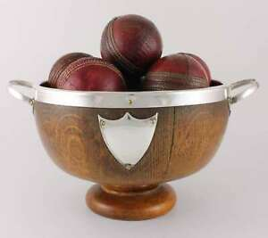 English Oak Silver Plate Trophy Bowl & 12 Leather Cricket Balls. Cricketer Gift