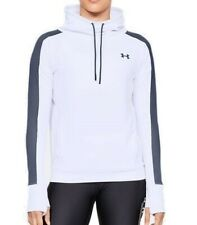 Under Armour Womens Featherweight White Fleece Funnel Neck Top White Sports Gym