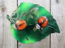 Fair Trade Hand Made Carved Metal Art Ladybird and Leaf Wall Hanging Plaque Sign