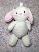 "Kellytoy White Bunny Rabbit Plush Stuffed Loop Crinkle PINK SOFT Baby Toy 10"""