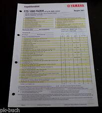 Inspektionsblatt Yamaha FZS 1000 Fazer Typ RN06 Baujahr 2001