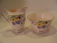 """1933 Tuscan China CREAMER & SUGAR """"Plant"""" Pattern Palest Pink"""